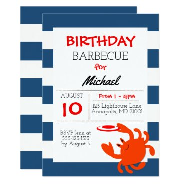 Beach Themed Navy Nautical Crab All Occasion Invitation