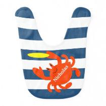 Navy Nautical Crab Personalized Bib