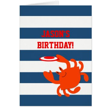 Beach Themed Navy Nautical Crab Personalized Birthday Card