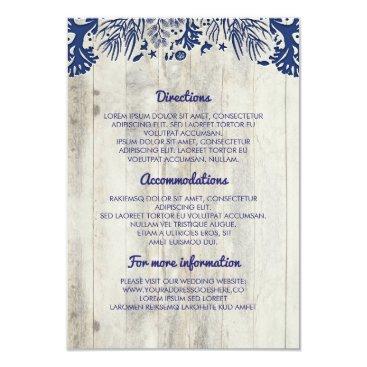jinaiji Navy Nautical Driftwood Beach Wedding Details Card