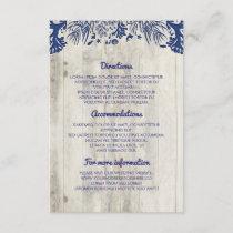 Navy Nautical Driftwood Beach Wedding Details Enclosure Card