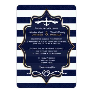 Navy Nautical, FAUX Burlap Stripes Wedding 2 Custom Invitations