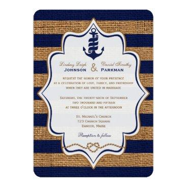 Navy Nautical, FAUX Burlap Stripes Wedding Invite