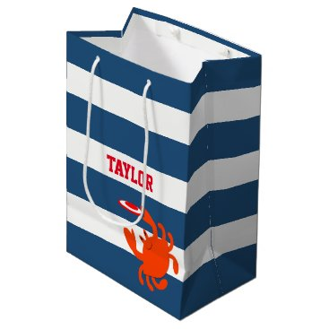 Beach Themed Navy Nautical Frisbee Crab Personalized Medium Gift Bag