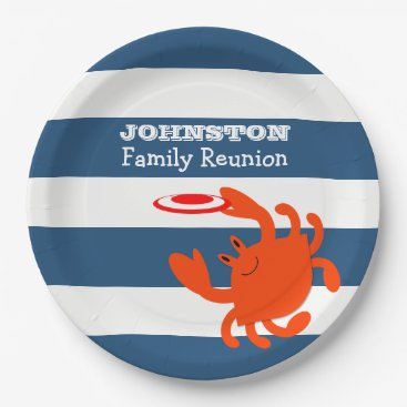 Beach Themed Navy Nautical Frisbee Crab Personalized Paper Plate