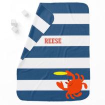 Navy Nautical Frisbee Crab Personalized Swaddle Blanket