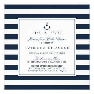 Navy Nautical It s a Boy Baby Shower Invitation