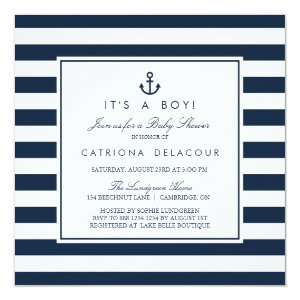 Navy Nautical It's a Boy Baby Shower Invitation