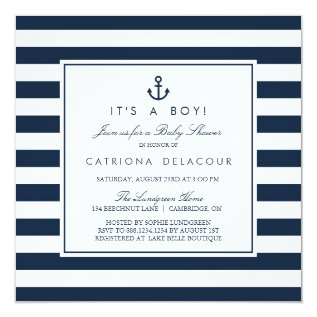 Navy Nautical It's a Boy Baby Shower Invitation at Zazzle