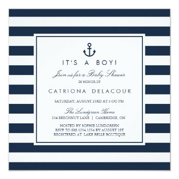 Toddler & Baby themed Navy Nautical It's a Boy Baby Shower Invitation