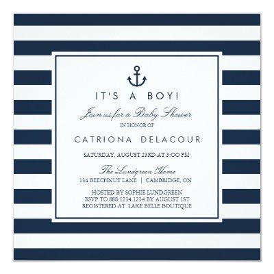 nautical navy baby shower card   zazzle, Baby shower invitations