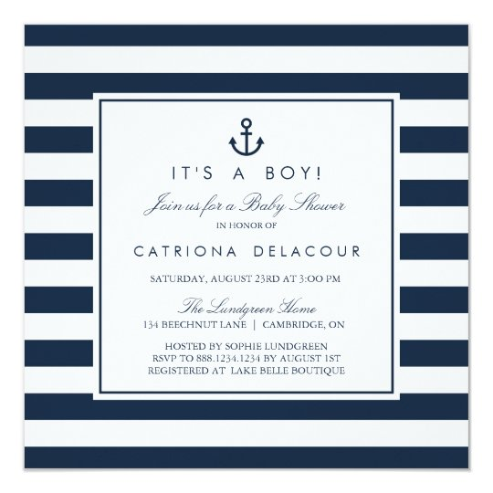Superior Navy Nautical Itu0027s A Boy Baby Shower Invitation