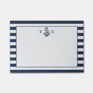 Navy Nautical Preppy Stripe & Anchor Monogram Post-it Notes