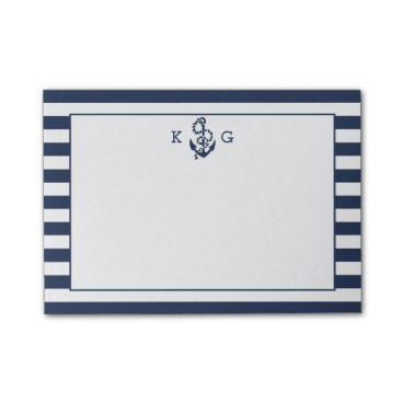 RedwoodAndVine Navy Nautical Preppy Stripe & Anchor Monogram Post-it Notes