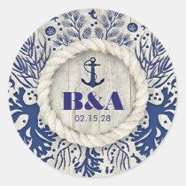 Navy Nautical Rustic Beach Driftwood Wedding Classic Round Sticker