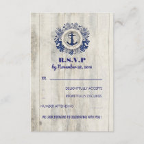 Navy Nautical Rustic Beach Wedding RSVP