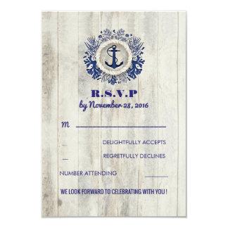 Navy Nautical Rustic Beach Wedding RSVP Card