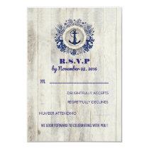 Navy Nautical Rustic Beach Wedding RSVP Invitation