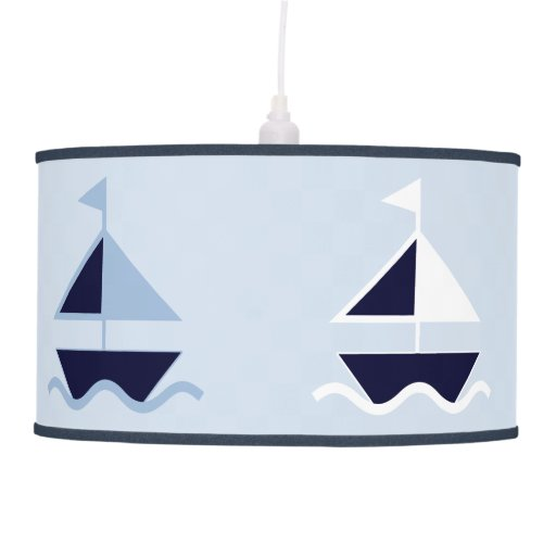 Navy Nautical Sailboats Nursery Lamp