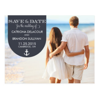NAVY NAUTICAL SAVE THE DATE ANNOUNCEMENT POSTCARD