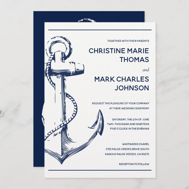 Navy Nautical Sketch Anchor Wedding Invitation