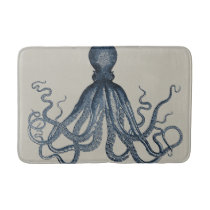 Navy Nautical Steampunk Octopus Vintage Kraken Bathroom Mat