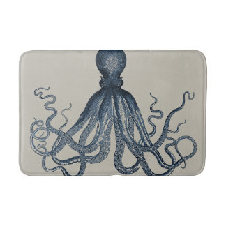Navy Nautical Steampunk Octopus Vintage Kraken Bathroom Mat