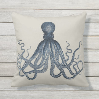 Navy Nautical Steampunk Octopus Vintage Kraken Outdoor Pillow