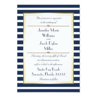 Navy Nautical Stripe Rope Wedding Invitation