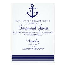 navy nautical wedding invitation