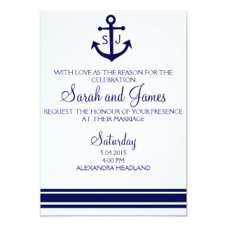 Charming Navy Nautical Wedding Invitation