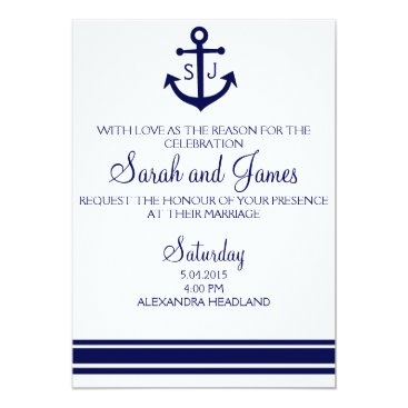Beach Themed navy nautical wedding invitation