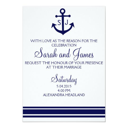 Nautical Wedding Invitations.Navy Nautical Wedding Invitation