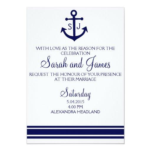navy nautical wedding invitation invites