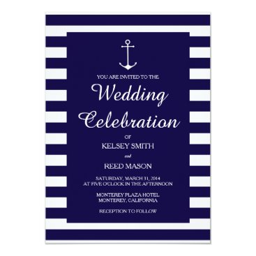 Beach Themed Navy Nautical : Wedding Invitations