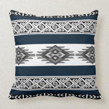 Aztec Themed Navy Navajo Pillow