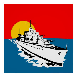 navy naval warship battleship with big guns poster