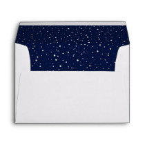 Navy Night Gold Stars Wedding Envelope