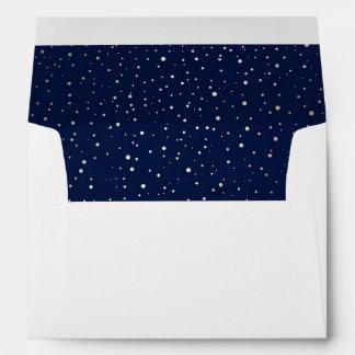 Navy Night Gold Stars Wedding Envelope