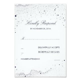 Navy Night Stars Wedding RSVP Card