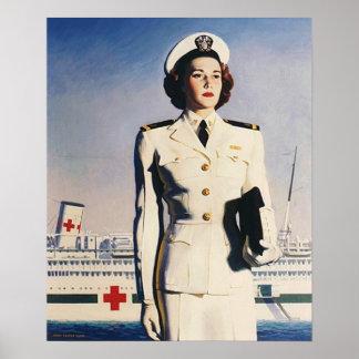 Navy Nurse With Hospital Ship Poster