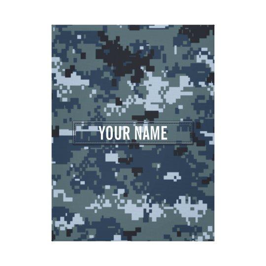 Navy NWU Camouflage Customizable Canvas Print