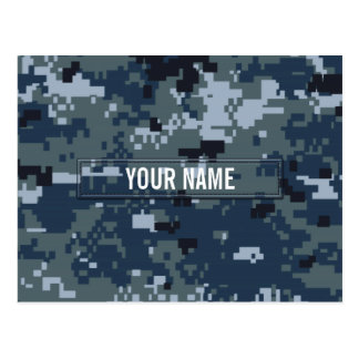 Navy NWU Camouflage Customizable Postcard
