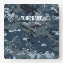 Navy NWU Camouflage Customizable Square Wall Clock
