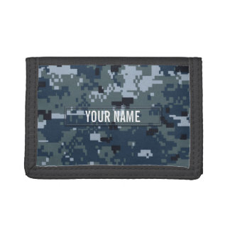 Navy NWU Camouflage Customizable Tri-fold Wallet