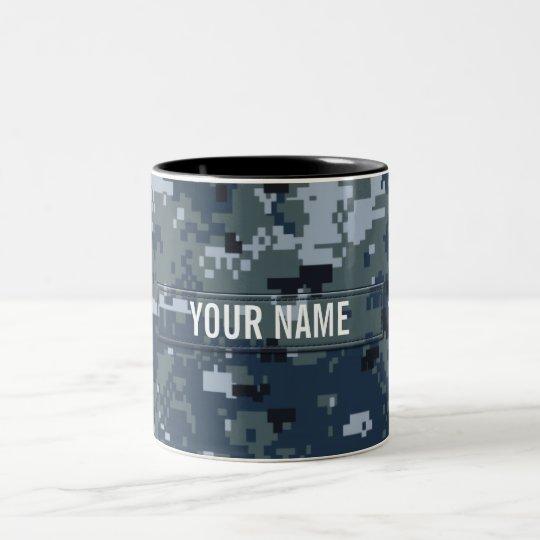 Navy NWU Camouflage Customizable Two-Tone Coffee Mug