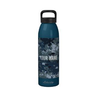 Navy NWU Camouflage Customizable Water Bottle