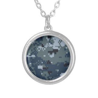 Navy NWU Camouflage Round Pendant Necklace