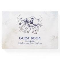 Navy Octopus Beach Watercolors Nautical Wedding Guest Book
