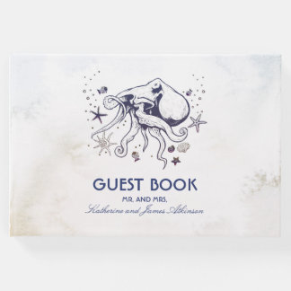 Navy Octopus Beach Watercolors Nautical Wedding Guest Book